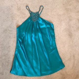 F21 Teal Silk Cami with Silver Beading Detail